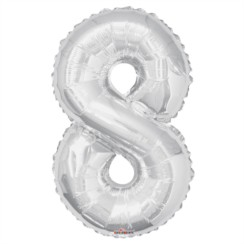 """Large Jumbo Silver Metallic Number 8 Foil Helium Balloon 34""""/87cm (Not Inflated)"""