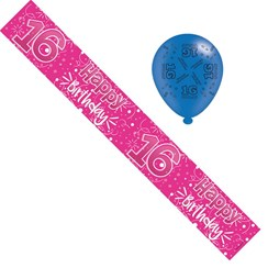 Age 16 Girl Foil Birthday Party Banner & Balloons - Hot Pink & Silver Stars
