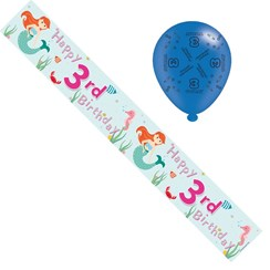 Age 3 Girl Foil Party Banner & Balloons -  Happy 3rd Birthday - Mermaids & Stars