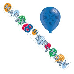 Age 8 Unisex Foil Party Banner & Balloons - Happy 8th Birthday - Balloon & Stars