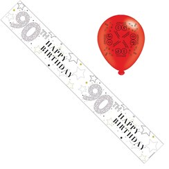 Age 90 Unisex Foil Party Banner & Balloons -  Happy 90th Birthday - Silver Stars