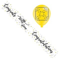 Congratulations Foil Party Banner & Balloons - Congrats Well Done - Gold Stars