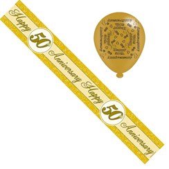 Golden 50th Anniversary Foil Party Banner & Balloons - Happy 50th Anniversary