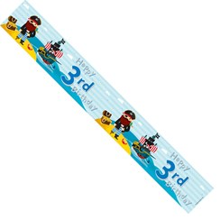 Age 3 Boy Multicoloured Foil Party Banner Happy 3rd Birthday Pirates & Treasure