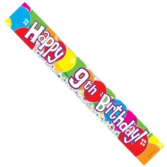 Age 9 Unisex Muticoloured Foil Party Banner - Happy 9th Birthday - Boy or Girl
