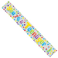 Age 13 Silver Foil Party Banner - Multicoloured You're A Teenager