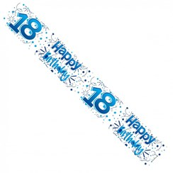 Age 18 Male Blue & Silver Foil Party Banner - Happy 18th Birthday