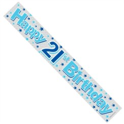 Age 21 Male Blue & Silver Foil Party Banner - Happy 21st Birthday
