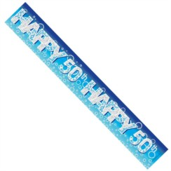 Age 50 Male Blue Foil Party Banner - Happy 50th - Silver Text & Big Blue Bubbles