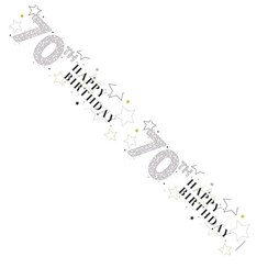 Age 70 Unisex Foil Party Banner - Happy 70th Birthday - White & Silver Stars