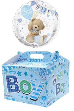 """Heart 18"""" Baby Boy Foil Helium Balloon In Box - Bear and Bunting"""