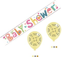 Baby Shower Unisex Party Pack - Foil Banner & Latex Balloons