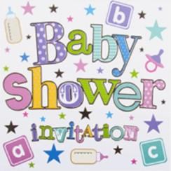 Pack Of 6 Unisex Baby Shower Card Invitations & Envelope - Stars & Bottles