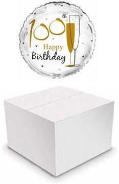 "Round 18"" 100th Birthday Foil Helium Balloon In Box - Age 100 Unisex Gold Flutes"