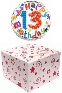 "Round 18"" 13th Birthday Foil Helium Balloon In Box - Age 13 Unisex Bright Stars"