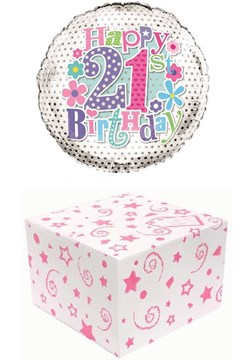 """Round 18"""" 21st Birthday Foil Helium Balloon In Box - Age 21 Female Pink Lilac"""