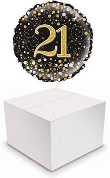 "Round 18"" 21st Birthday Foil Helium Balloon In Box - Age 21 Unisex Black & Gold"