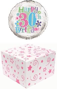 "Round 18"" 30th Birthday Foil Helium Balloon In Box - Age 30 Female Pink Stars"