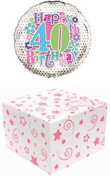 "Round 18"" 40th Birthday Foil Helium Balloon In Box - Age 40 Female Pink Stars"