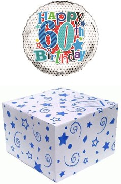 """Round 18"""" 60th Birthday Foil Helium Balloon In Box - Age 60 Male Blue Stars"""