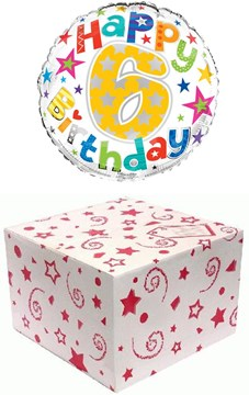 "Round 18"" 6th Birthday Foil Helium Balloon In Box - Age 6 Unisex Bright Stars"