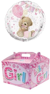 """Round 18"""" Baby Girl Foil Helium Balloon In Box - Bear and Bunting"""