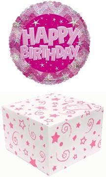 "Round 18"" Happy Birthday Foil Helium Balloon In Box - Pink & Silver Stars"