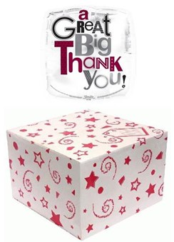 """Square 18"""" Thank You Foil Helium Balloon In Box - Black & Mauve Patterned Text"""