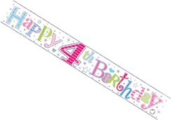 Age 4 Girl Pink Foil Party Banner - Happy 4th Birthday Mulitcoloured
