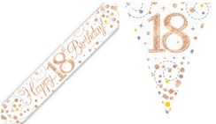 Party Banner & Bunting White & Rose Gold Holographic - Happy 18th Birthday