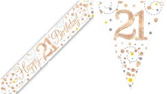 Party Banner & Bunting White & Rose Gold Holographic - Happy 21st Birthday