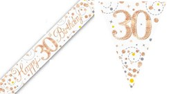 Party Banner & Bunting White & Rose Gold Holographic - Happy 30th Birthday