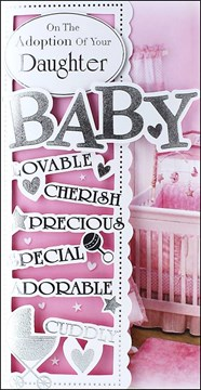 """Adoption Of Baby Daughter Greetings Card - Pale Pink Cot & Silver Text 9"""" x 4.5"""""""