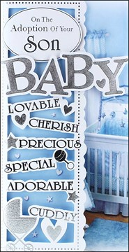 "Adoption Of Baby Son Greetings Card - Pale Blue Cot & Big Silver Text 9"" x 4.5"""