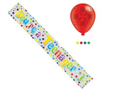 Age 13 Unisex Happy Birthday Foil Party Banner & Balloons - You're A Teenager
