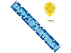 Age 18 Male Birthday Foil Party Banner & Balloons - Happy 18th Birthday