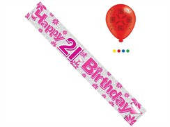 Age 21 Female Birthday Foil Party Banner & Balloons - Happy 21st Birthday