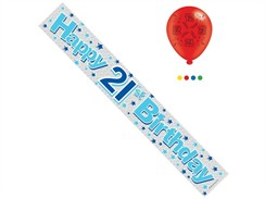 Age 21 Male Birthday Foil Party Banner & Balloons - Happy 21st Birthday