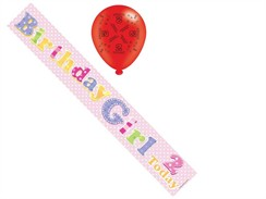 Age 2 Girl Birthday Foil Party Banner & Balloons -  2 Today