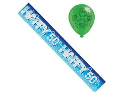 Age 50 Male Birthday Foil Party Banner & Balloons - Happy 50th