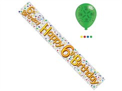 Age 6 Unisex Happy Birthday Foil Party Banner & Balloons - Happy 6th Birthday