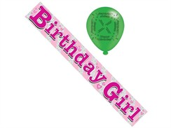 Pink Birthday Girl Foil Party Banner & Balloons - Birthday Girl
