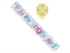 Engagement Foil Party Banner & Balloons - Multicoloured You're Engaged