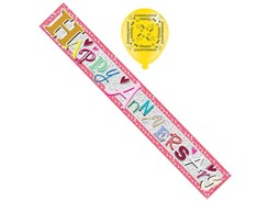 Open Anniversary Foil Party Banner & Balloons - Happy Anniversary