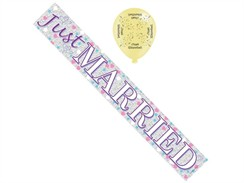 Wedding Day Foil Party Banner & Balloons - White Just Married