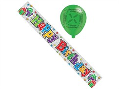 Silver Happy Birthday Foil Party Banner & Balloons - Happy Birthday