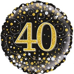 """Round 18"""" 40th Birthday Foil Helium Balloon (Not Inflated) - Age 40 Black Gold"""