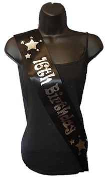 Black Happy 16th Birthday Party Satin Ribbon Sash - Age 16 Silver Stars