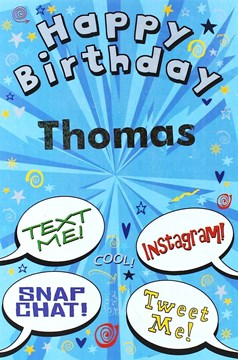 "Open Male Personalised Birthday Card - Any Name - Blue Text Bubbles 8.5"" x 5.5"""