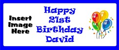 Personalised Landscape Party Banner - Blue Balloons - Add Your Own Photo & Text